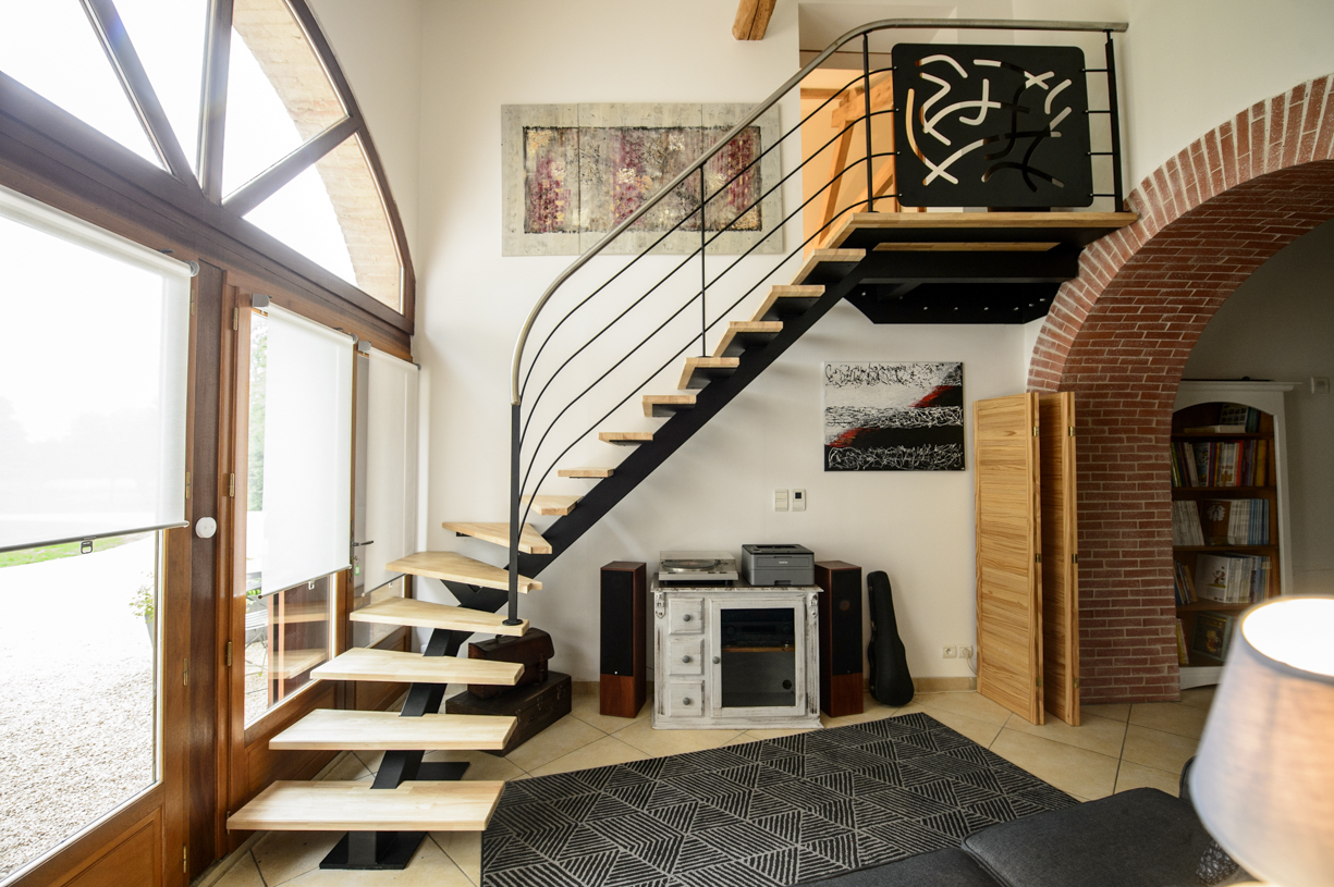 escalier quart tournant en metal design